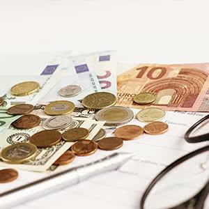 Tierhalterhaftpflicht Vergleich - Geldscheine mit einer Brille und einem Stift